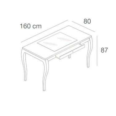 Table avec Vitrine L.160 cm d'exposition et tiroir, mobilier professionnel pour équipement et agencement de commerce paris, bord