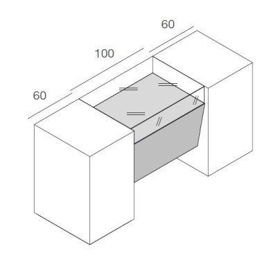Comptoir magasin COMETE L.220 cm, comptoir de caisse pour commerce design avec vitrine, mobilier pour magasin montpellier, paris