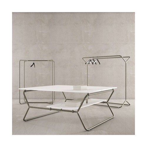 Portant Design 1 // H.145 cm & H.160 cm, présentoir magasin métal brut, mobilier pour agencement de magasin, mobilier profession