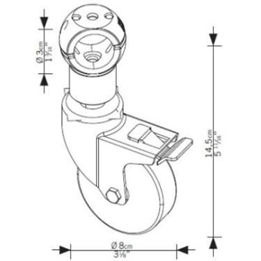 Roulette avec frein portants L45, portant design magasin, mobilier pour commerce, mobilier professionnel, penderie magasin montp