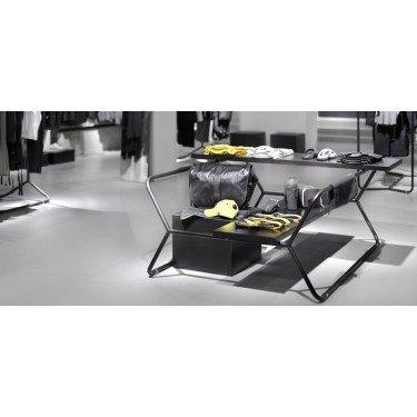 Table de présentation marchande et Portant Design pour magasin // H.145 cm & H.160 cm, présentoir magasin métal brut