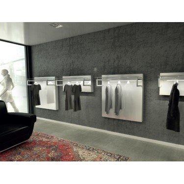 panneau mural avec penderie acier pour agencement de boutique de prêt à porter de luxe