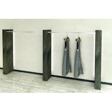 L 4 // Portant 4 M - Montant à accrochage mural avec ou sans retro-eclairage, relié par barre de penderie longueur 140 cm.