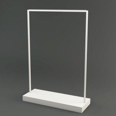 Portant pour magasin professionnel Rainbow barre metal noir blanc brut et base bois Personnalisable. Agencement boutique Design