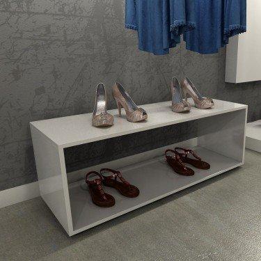 Podium Anneau L.120 cm exposer et stocker chaussures , sac, accessoires. Mobilier pour agencement de magasin design en bois noir
