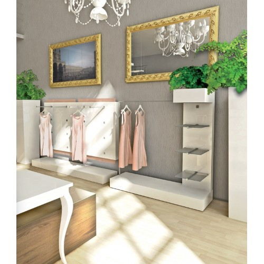 Podium magasin L.120 x H.10 cm, agencement de magasin design paris, montpellier, podium ou plateforme bas de panneau et vitrine