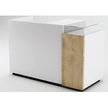 Meuble comptoir caisse magasin bois finition noir et blanc, mobilier pour magasin design, comptoir magasin, meuble comptoir desi