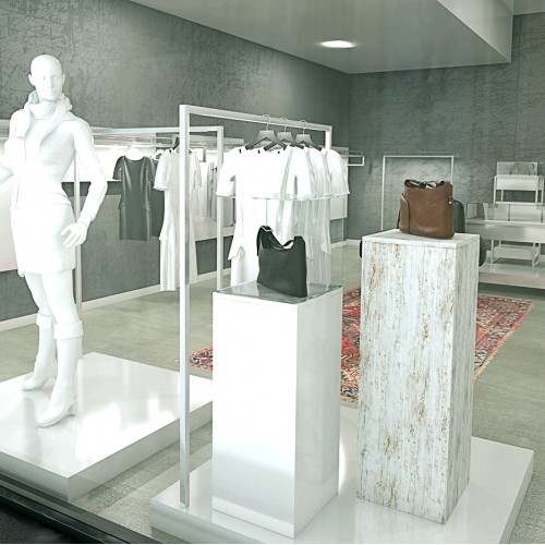 Podium magasin agencement de magasin, decoration vitrine, ilot central pour commerce equipement de commerce