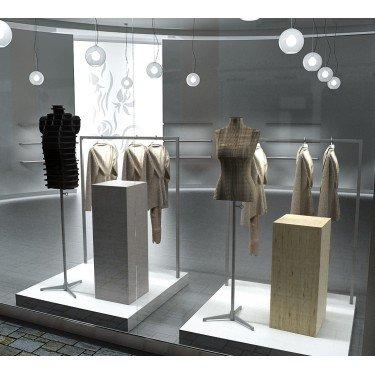 Podium magasin agencement de magasin, decoration vitrine, ilot central pour commerce equipement de commerce