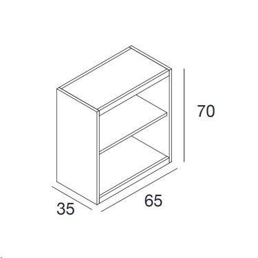 Meuble bas Linea Due meuble de rangement pour magasin, meuble d'exposition pour magasin, meuble stockage pour agencement