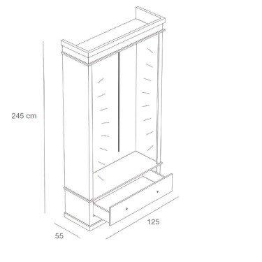 Armoire de présentation L.125 cm, armoire pour magasin avec tiroir de rangement et système lumineux en option. agencement de mag