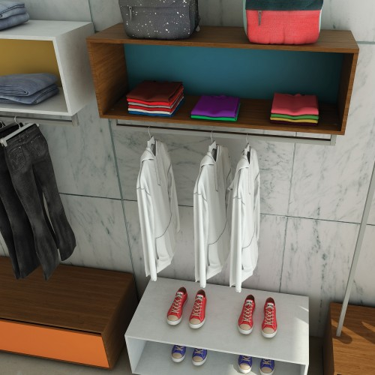 Box 2 Etagères & 1 Penderie murale pour agencement magasin