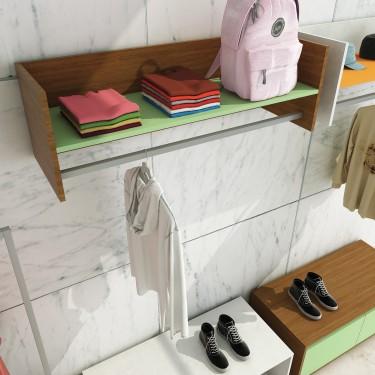 Module Etagère et barre Penderie Murale pour agencement de magasin pret à porter et vetement