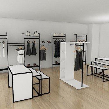 Portant avec module 4 étagères Retail Design