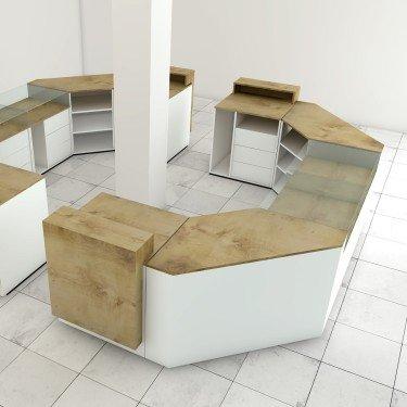 Comptoir de caisse et d'accueil Working à composer et entièrement personnalisable pour l'agencement de boutique