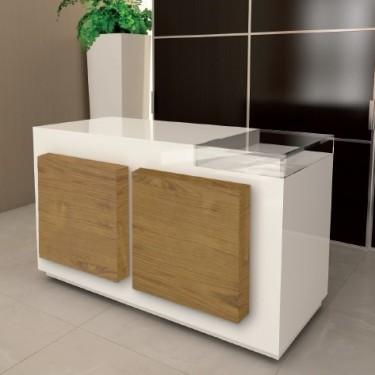 Comptoir magasin CUBIK L160 cm entièrement personnalisable, mobilier de caisse pour magasin design, agencement et équipement