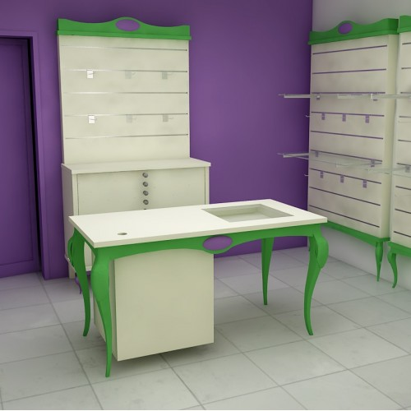 Comptoir magasin LUXIOLE, comptoir de caisse baroque, comptoir magasin de luxe, équipement de commerce haut de gamme, agencement