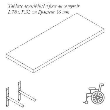 Tablette à fixer au comptoir pour caisse PMR - Agencement de magasin Design et fonctionnel Question Commerce