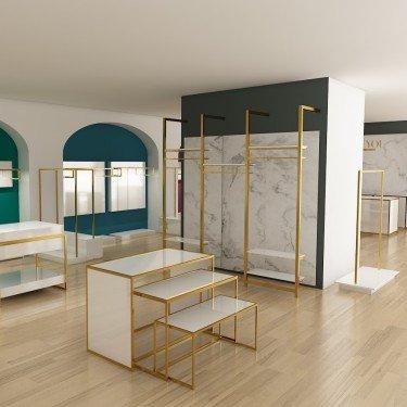 Etagère Métal agencement magasin Retail Design pour créer un portant étagère élégant et design - QUESTION COMMERCE
