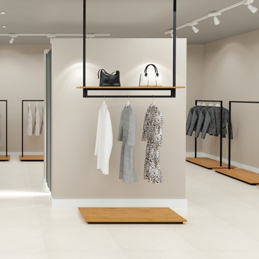 Portant suspendu Retail Design 1 pour agencement de magasin QUESTION COMMERCE