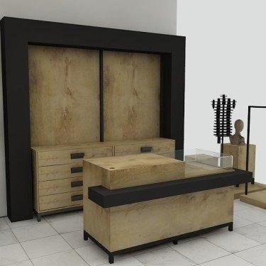 Comptoir boutique avec vitrine ARCHI avec insert frontal. Comptoir magasin design et fonctionnel en bois