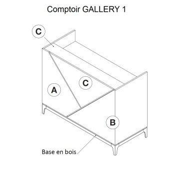 Comptoir bois GALLERY 1 & 2, comptoir caisse pour agencement de magasin à personnaliser