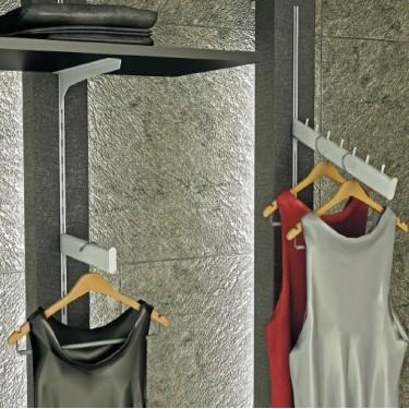 Couple support etagère Verre avec support Barre de Penderie pour panneaux à accrochage mural Linea 3, agencement magasin montpel